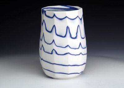Faceted Neriage vase 14cm H x 9cm D