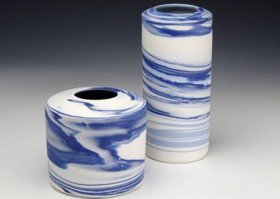Pair of neriage vases - tallest 16cm H
