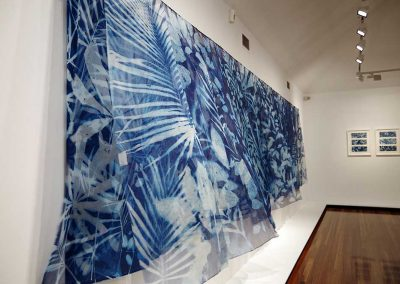 Of shadows and Light - cyanotype on 45 silk panels - 45 cm x 140 cm