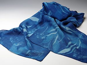 Rainforest Blossoms Design On Silk Wool Scarf
