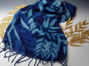 Bowenia Cycad Design On Natural Linen Scarf With Tels